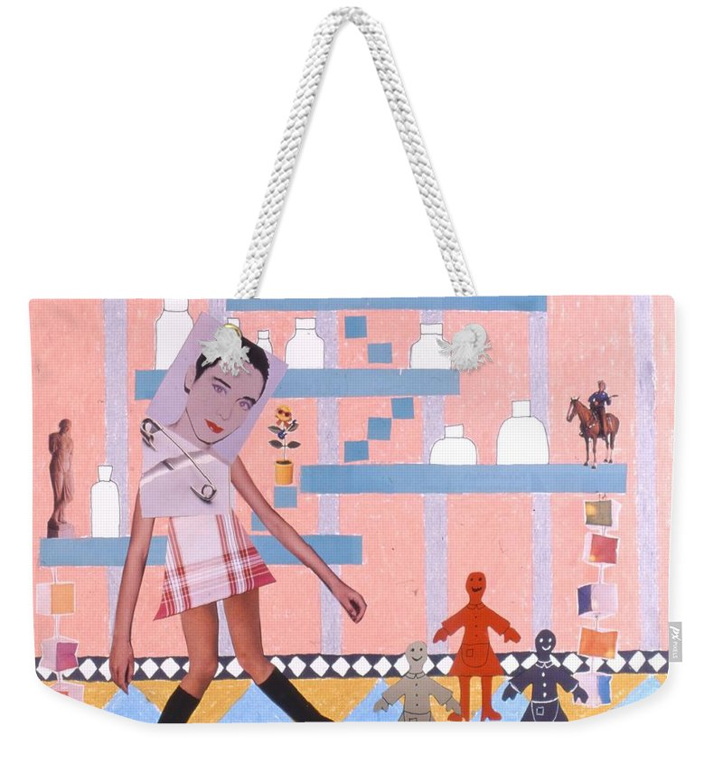 Cowboy Weekender Tote Bag featuring the drawing Soap Scene #16 Miracle Maids by Minaz Jantz