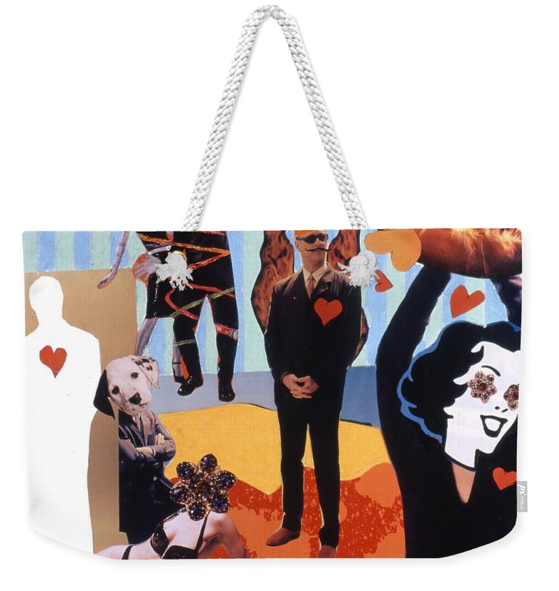 Hearts Weekender Tote Bag featuring the drawing Soap Scene #18 Burn In Heaven At The Club Relish by Minaz Jantz