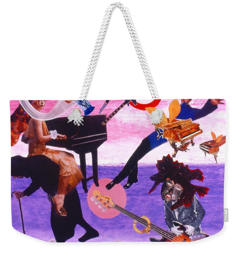 Grand Piano Weekender Tote Bag featuring the drawing Soap Scene #21 Beggar Belief by Minaz Jantz