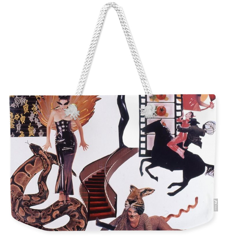 Boa Weekender Tote Bag featuring the drawing Soap Scene #22 Lust in the Wind by Minaz Jantz