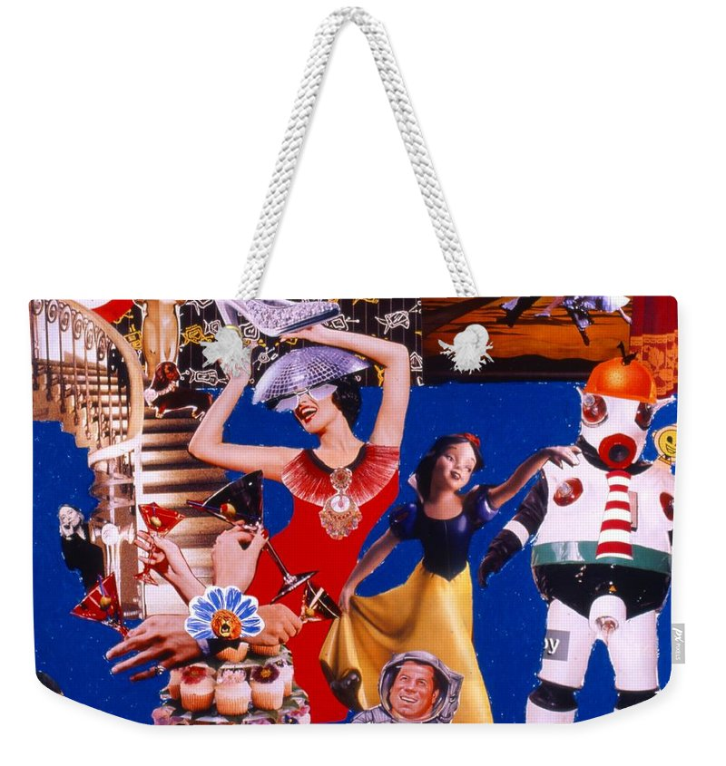 Surreal Weekender Tote Bag featuring the drawing Soap Scene #23 Oscar's Kiss Of Success by Minaz Jantz