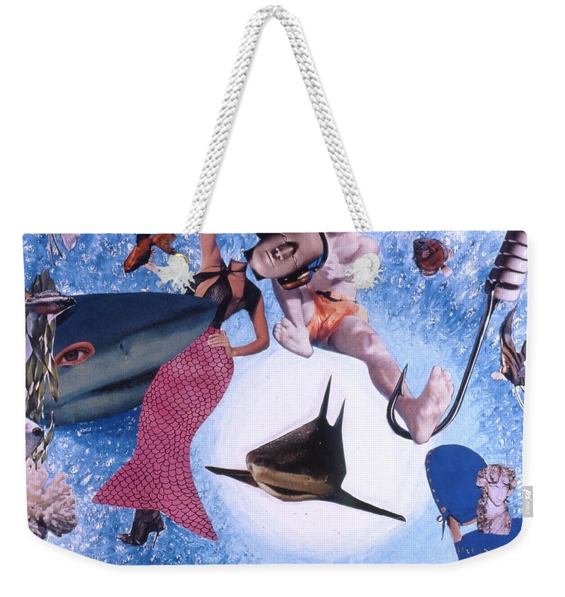 Shark Weekender Tote Bag featuring the drawing Soap Scene #26 Operation Rescue by Minaz Jantz