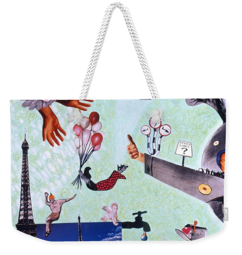 Eiffel Tower Weekender Tote Bag featuring the drawing Soap Scene #27 Zelestial Headquarters by Minaz Jantz