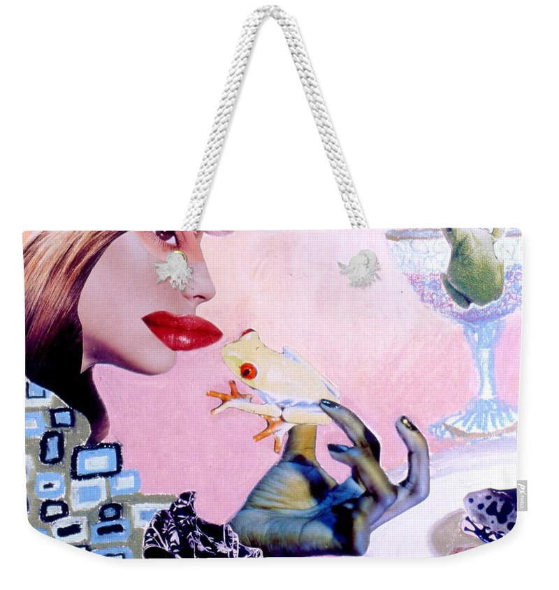 Frogs Weekender Tote Bag featuring the drawing Soap Scene #6 Frogs Legs For Dinner by Minaz Jantz