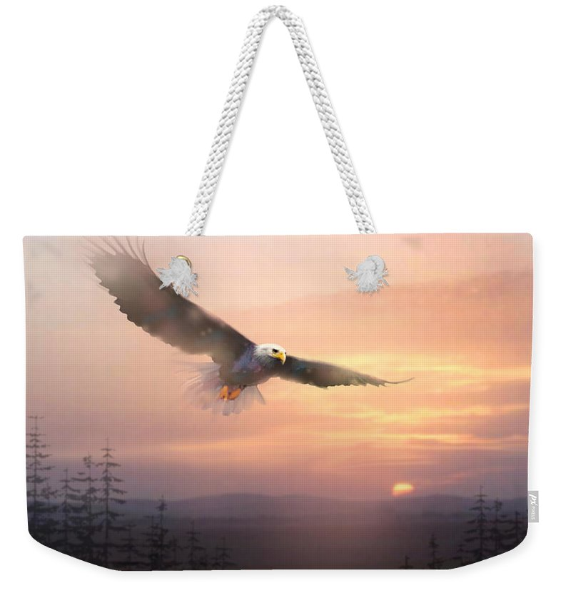 Eagle Weekender Tote Bag featuring the painting Soaring Free by Paul Sachtleben