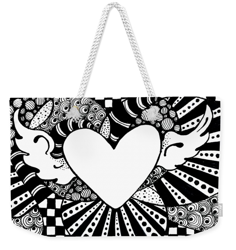 Zen Tangle Weekender Tote Bag featuring the drawing Soaring Heart by Nada Meeks