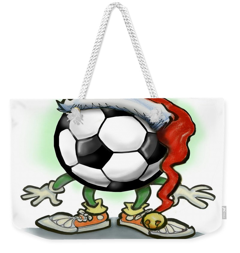 Soccer Weekender Tote Bag featuring the greeting card Soccer Christmas by Kevin Middleton