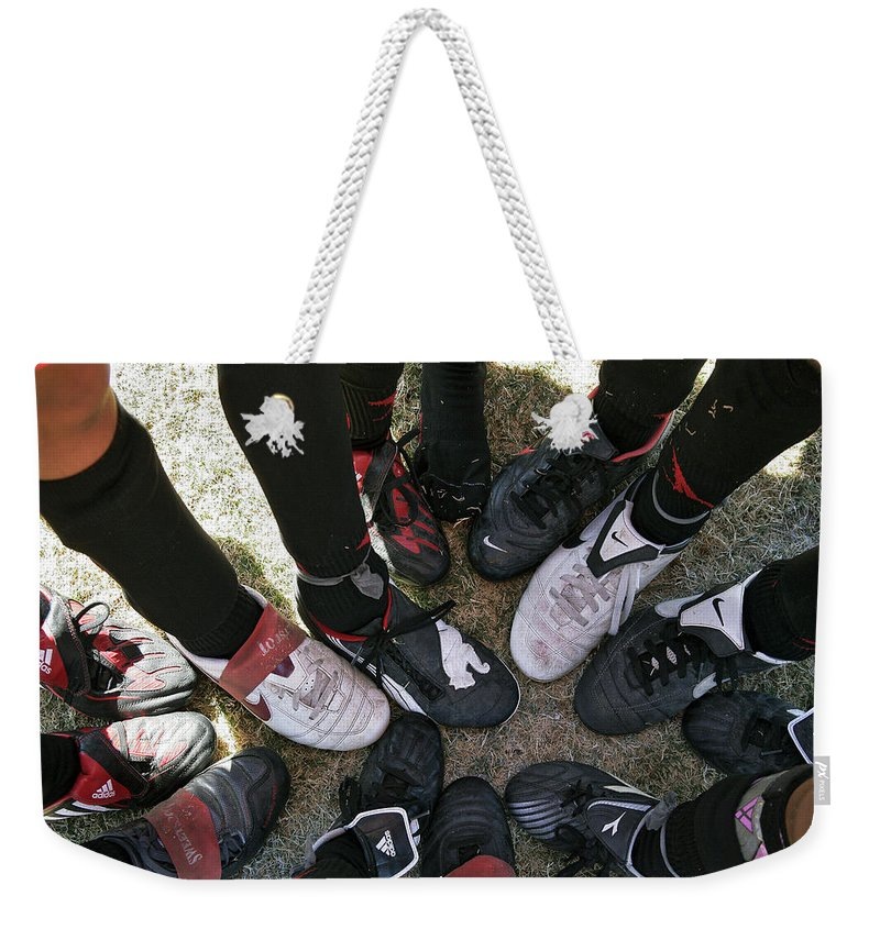 Soccer Weekender Tote Bag featuring the photograph Soccer Feet by Kelley King
