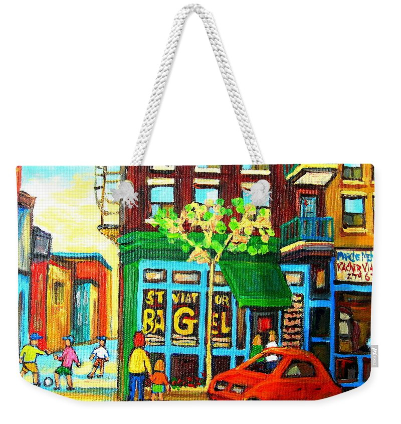 St Viateur Bagel Shop Montreal Street Scenes Weekender Tote Bag featuring the painting Soccer Game At The Bagel Shop by Carole Spandau