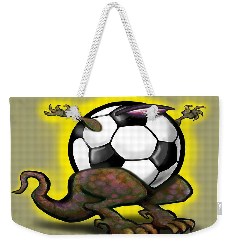 Soccer Weekender Tote Bag featuring the digital art Soccer Saurus Rex by Kevin Middleton