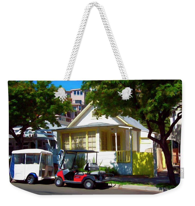 Catalina Weekender Tote Bag featuring the digital art Social Visit by Snake Jagger