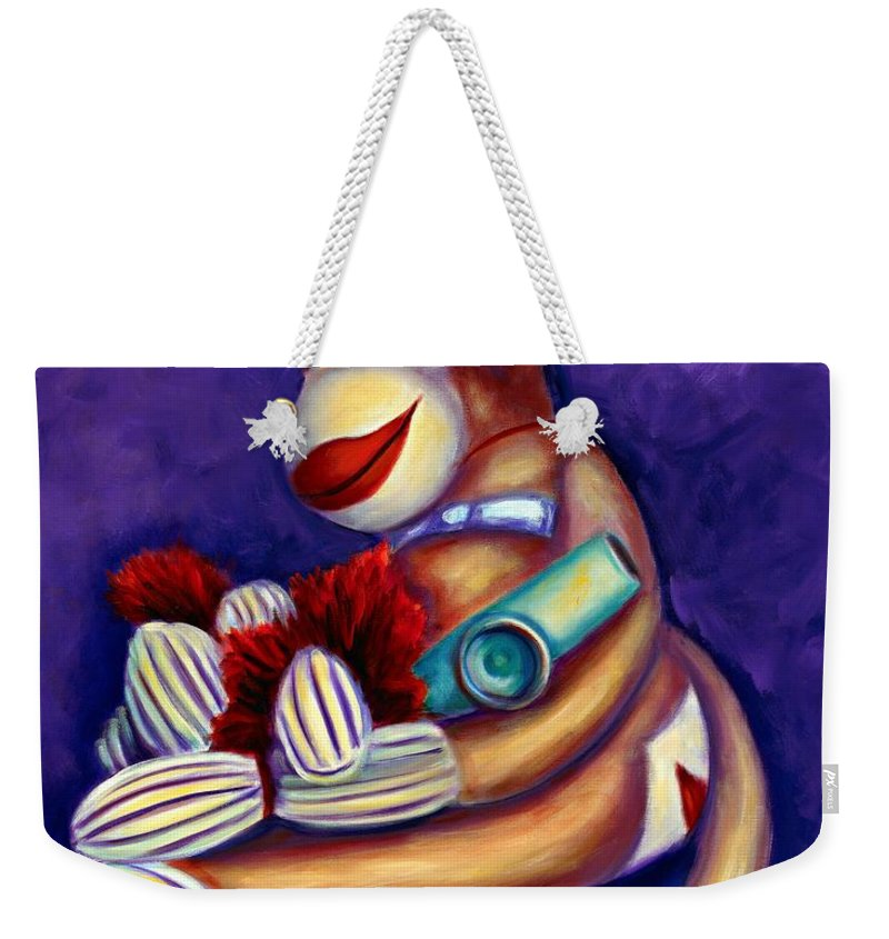 Children Weekender Tote Bag featuring the painting Sock Monkey With Kazoo by Shannon Grissom