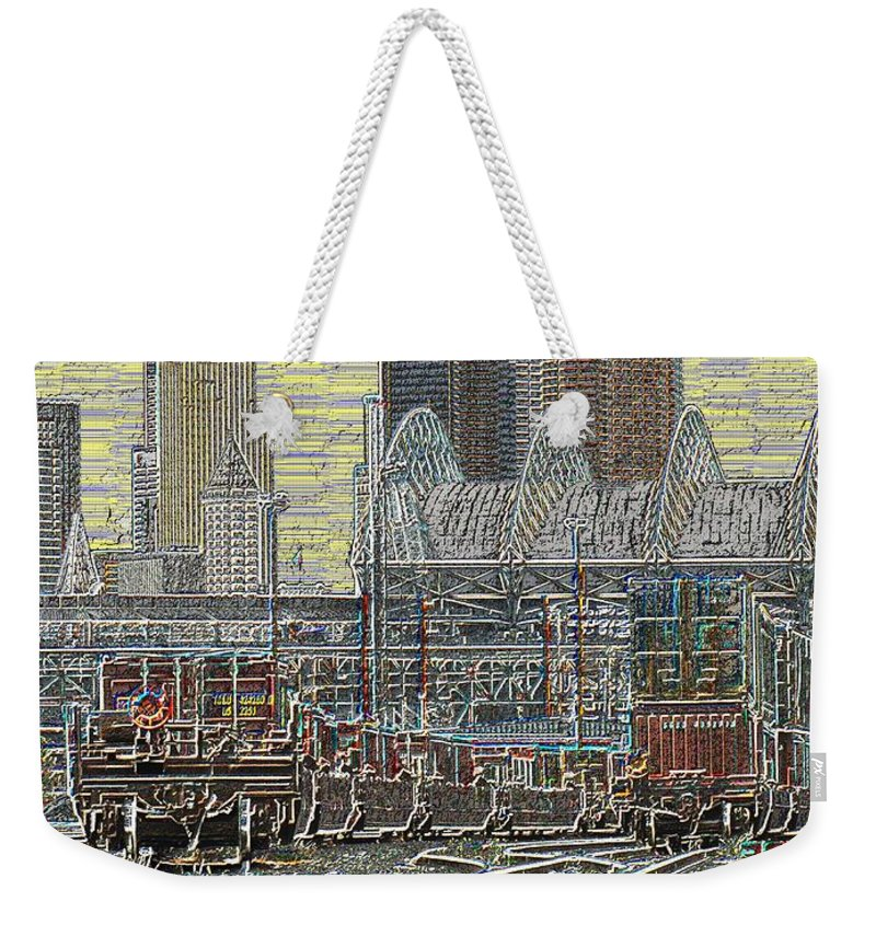Abstract Weekender Tote Bag featuring the digital art Sodo Tracks by Tim Allen