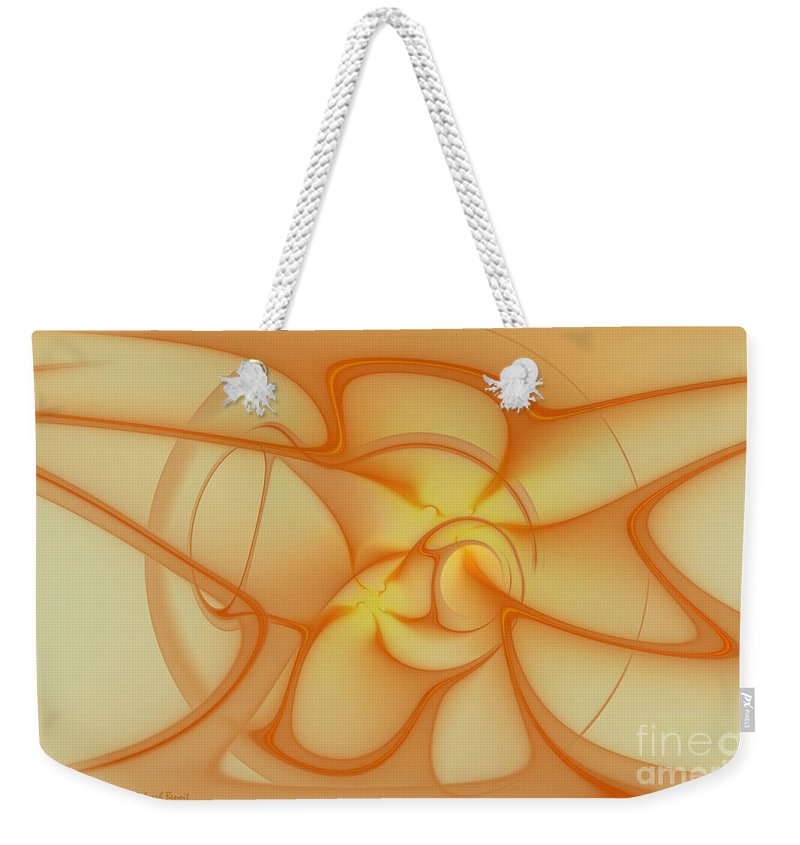 Fracta Weekender Tote Bag featuring the mixed media Soft Golden Flow by Deborah Benoit