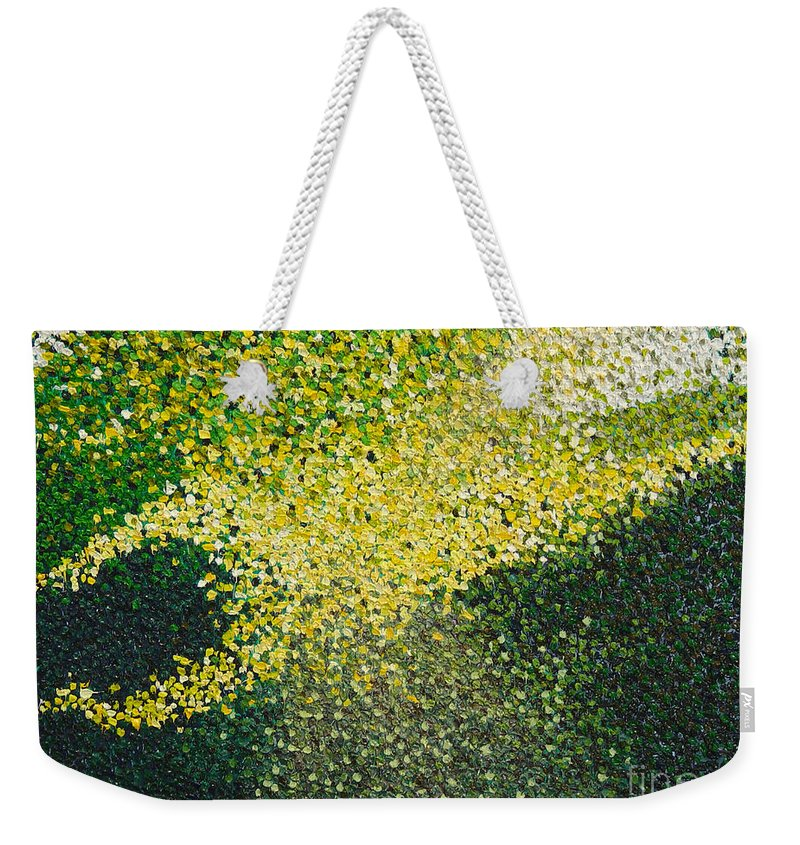 Abstract Weekender Tote Bag featuring the painting Soft Green Light by Dean Triolo