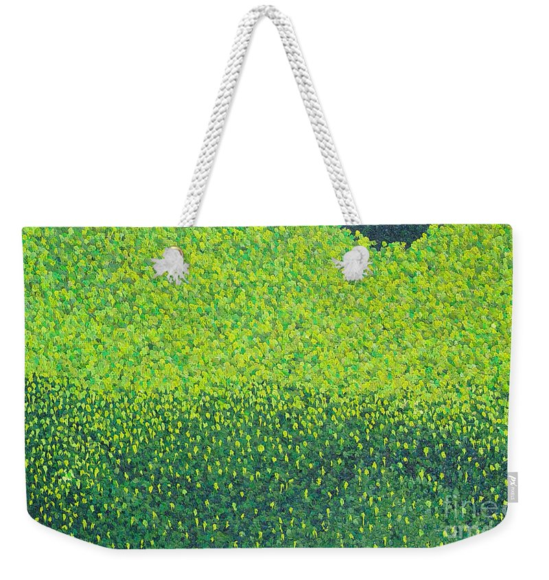Abstract Weekender Tote Bag featuring the painting Soft Green Wet Trees by Dean Triolo