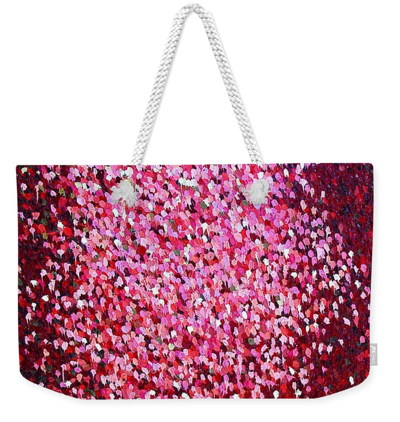 Red Weekender Tote Bag featuring the painting Soft Red Trust by Dean Triolo