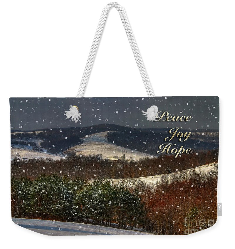 Christmas Weekender Tote Bag featuring the photograph Soft Sifting Christmas Card by Lois Bryan