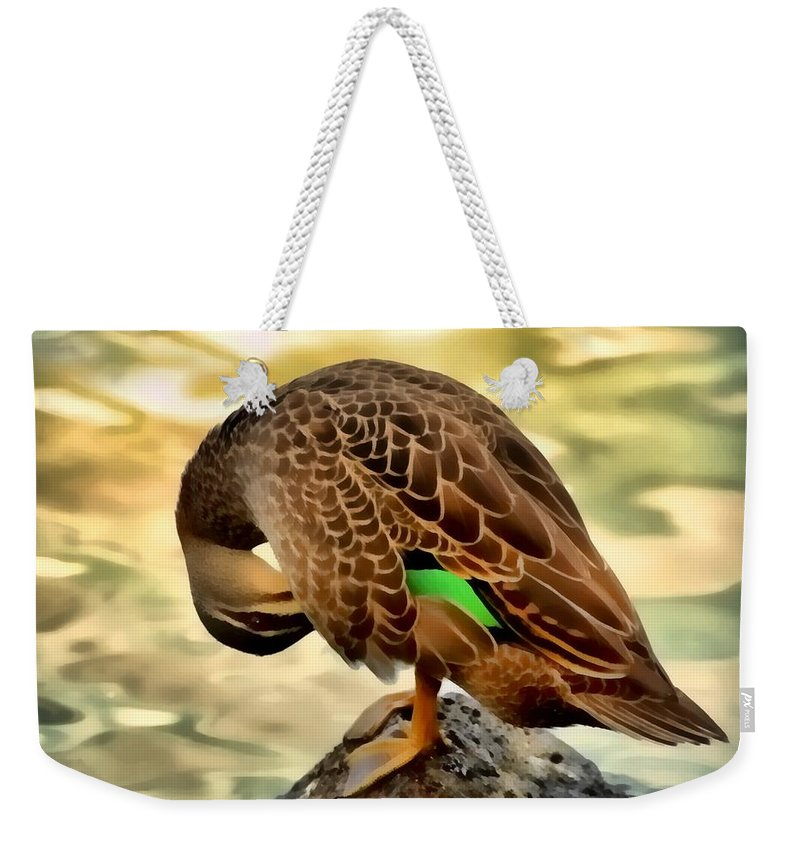 Duck Weekender Tote Bag featuring the photograph Soft Sunset Preen by Georgiana Romanovna