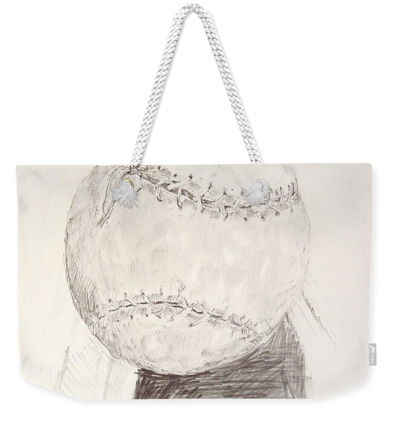 Onion Weekender Tote Bag featuring the drawing Softball by Ron Bissett