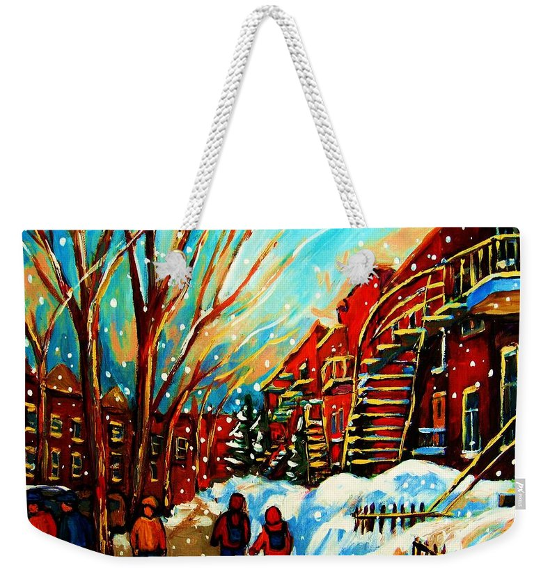 Montreal Weekender Tote Bag featuring the painting Softly Snowing by Carole Spandau