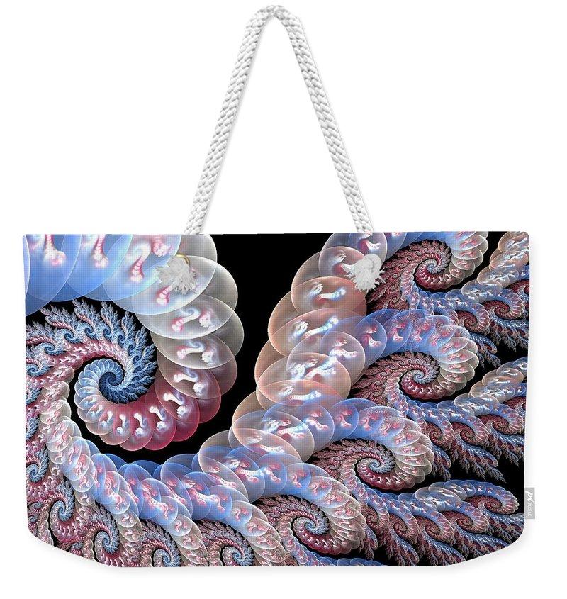 Fractal Art Weekender Tote Bag featuring the digital art Softly Whispering by Amorina Ashton