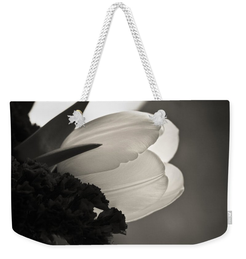 Floral Weekender Tote Bag featuring the photograph Lit Tulip by Marilyn Hunt