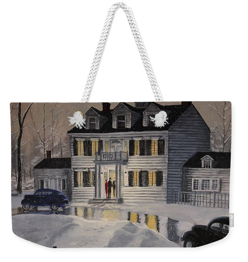 Winter Weekender Tote Bag featuring the painting Soiree At Billings Estate by Dave Rheaume