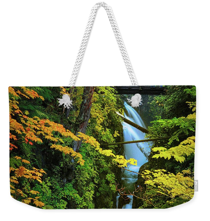 America Weekender Tote Bag featuring the photograph Sol Duc Falls In Autumn by Inge Johnsson