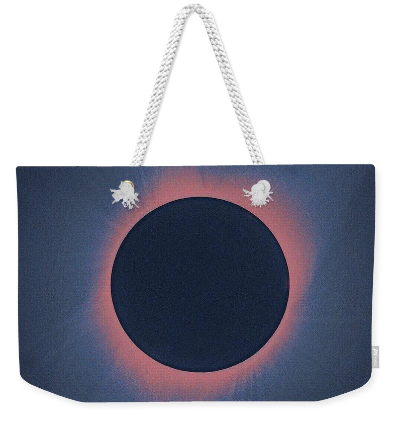 Sun Weekender Tote Bag featuring the painting Solar Eclipse, As Seen Above Madras, Oregon, U.s. By Nasa 5 by Celestial Images