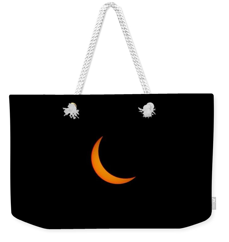 Sun Weekender Tote Bag featuring the painting Solar Eclipse, Cookie Bite 2 by Celestial Images
