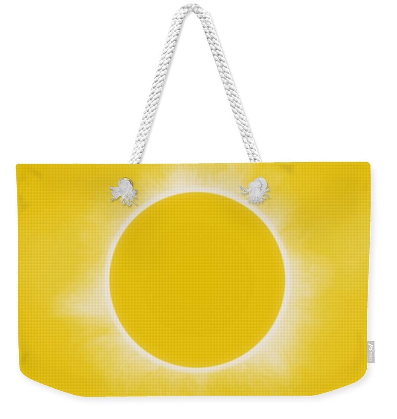 Sun Weekender Tote Bag featuring the painting Solar Eclipse In Lemon Colors by Celestial Images