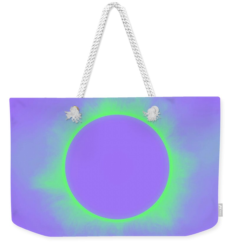 Sun Weekender Tote Bag featuring the painting Solar Eclipse In Purple And Green Colors by Celestial Images
