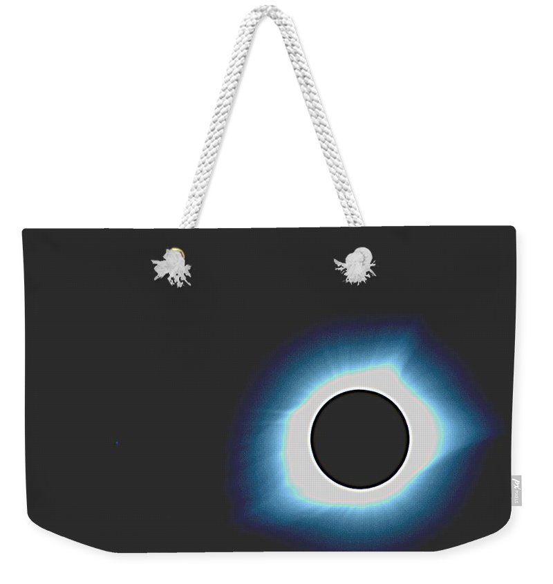 Sun Weekender Tote Bag featuring the painting Solar Eclipse In Totality 6 by Celestial Images