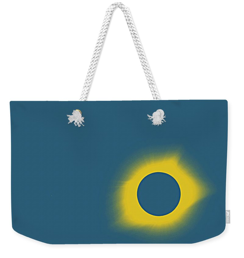Sun Weekender Tote Bag featuring the painting Solar Eclipse In Totality 7 by Celestial Images