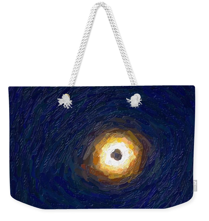 Sun Weekender Tote Bag featuring the painting Solar Eclipse In Totality Painting by Celestial Images