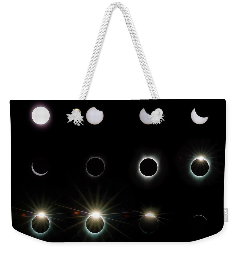 Solar Eclipse Weekender Tote Bag featuring the photograph Solar Eclipse Sequence 2017 by Doug LaRue