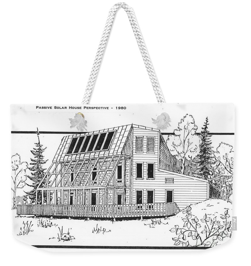 Sketch Weekender Tote Bag featuring the drawing Solar House by Ron Bissett