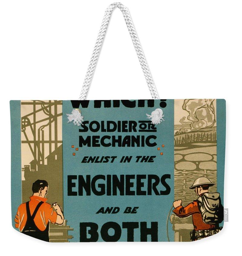 Vintage Weekender Tote Bag featuring the painting Soldiers Or Mechanic by Vintage Pix