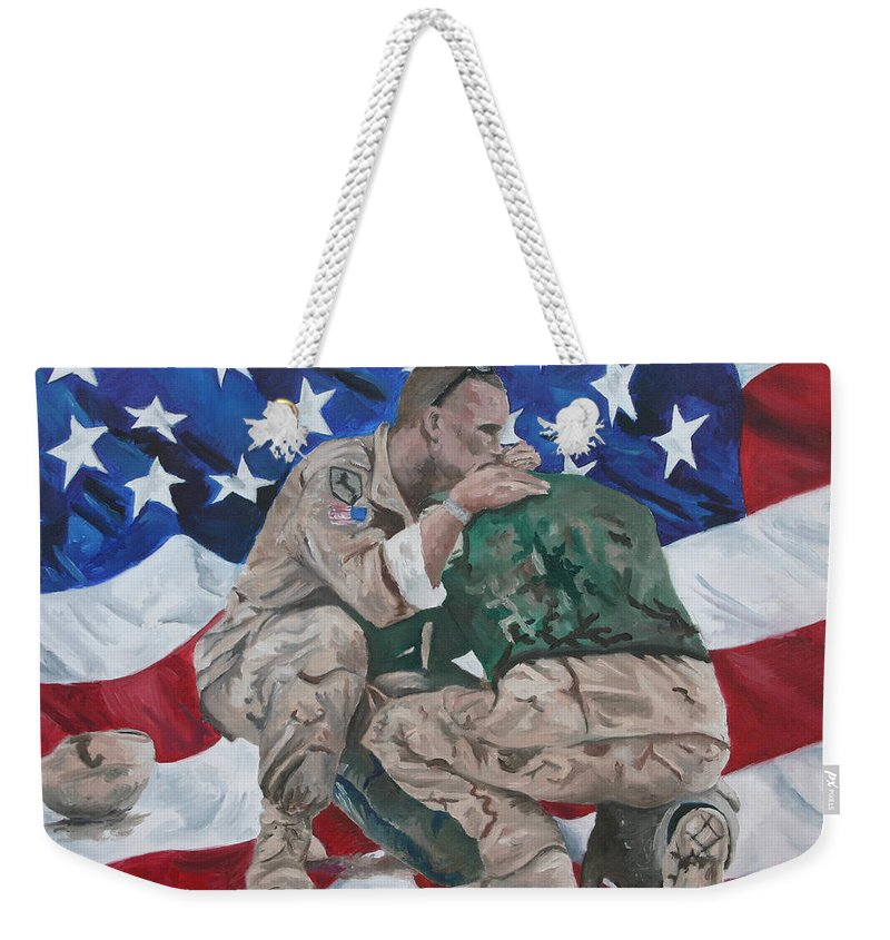 Soldiers Weekender Tote Bag featuring the painting Soldiers by Travis Day