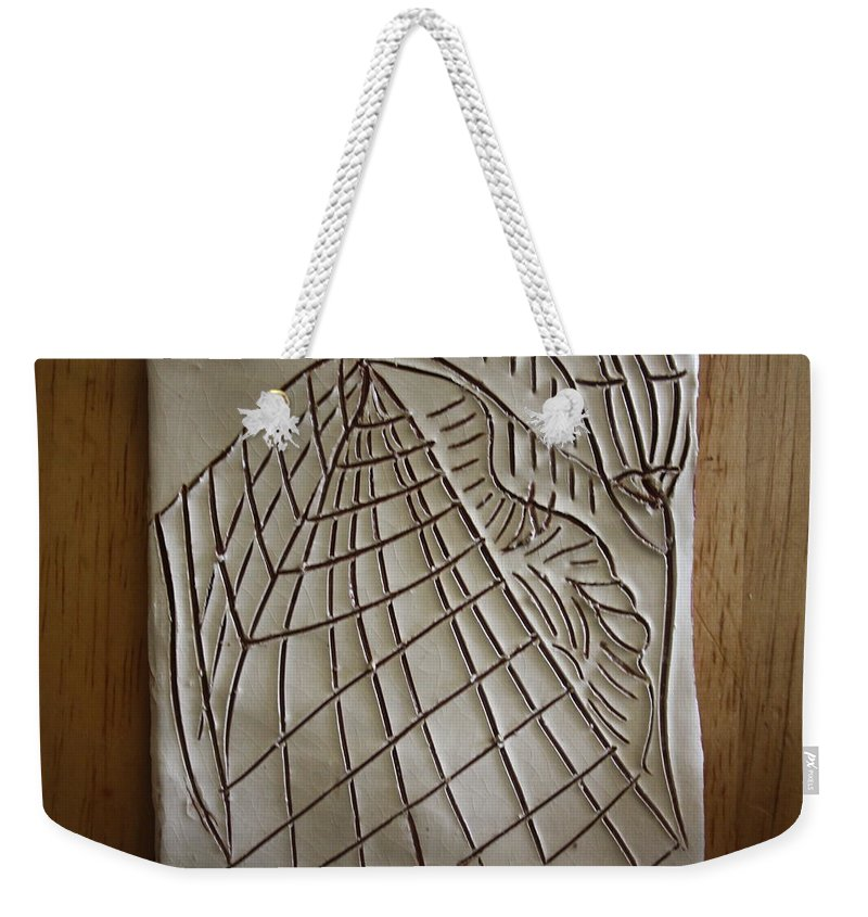 Jesus Weekender Tote Bag featuring the ceramic art Solemnity - Tile by Gloria Ssali