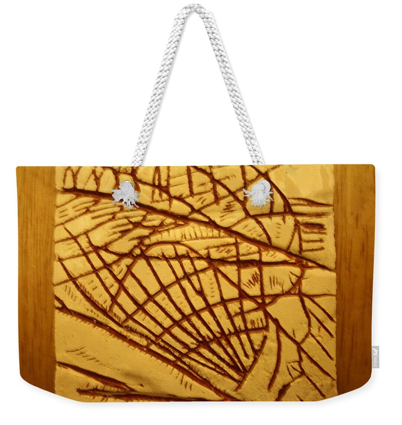 Jesus Weekender Tote Bag featuring the ceramic art Solid - Tile by Gloria Ssali