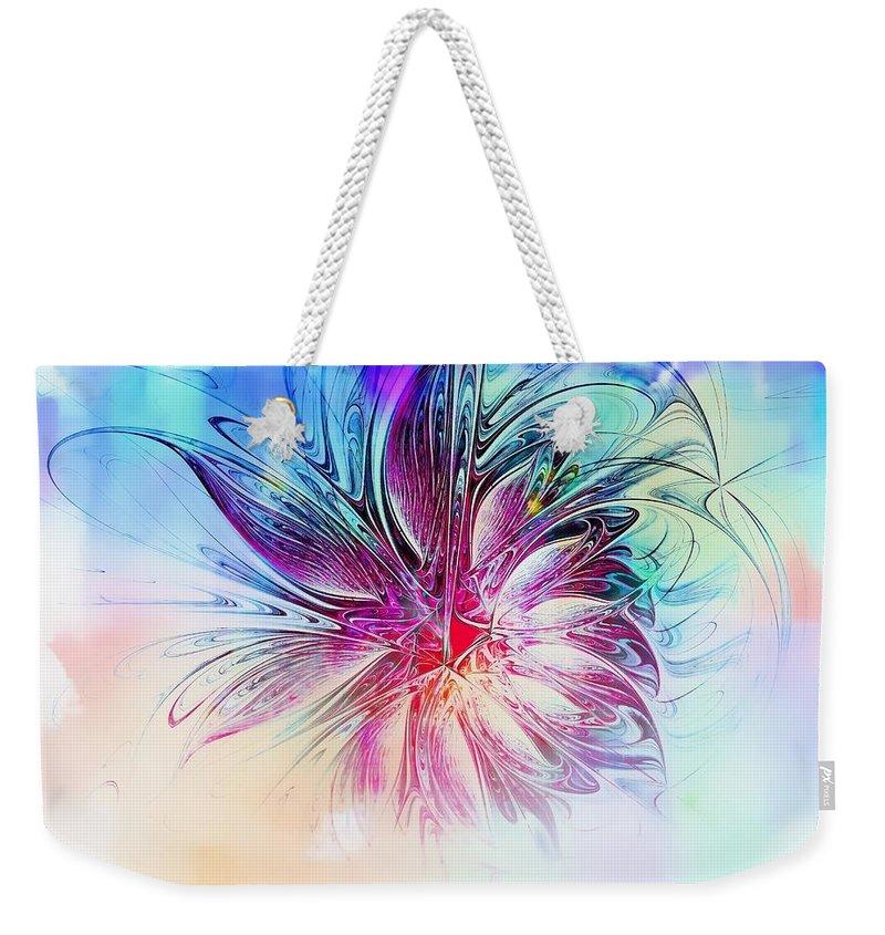 Fractal Art Weekender Tote Bag featuring the digital art Solitaire by Amanda Moore