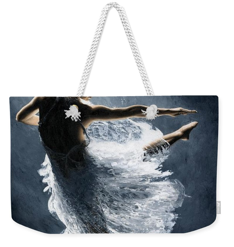 Dancer Weekender Tote Bag featuring the painting Solitaire by Richard Young