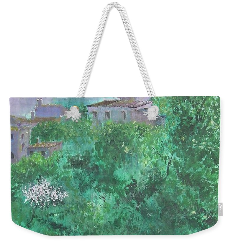 Impressionist Weekender Tote Bag featuring the painting Solitary Almond Tree In Blossom Mallorcan Valley by Lizzy Forrester