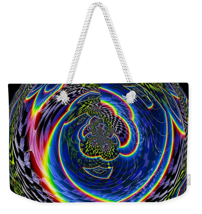 Abstract Rainbow Checkerboard Design Cool Effects Digital 70s Velvet Weird Prism Weekender Tote Bag featuring the digital art Solitary by Andrea Lawrence