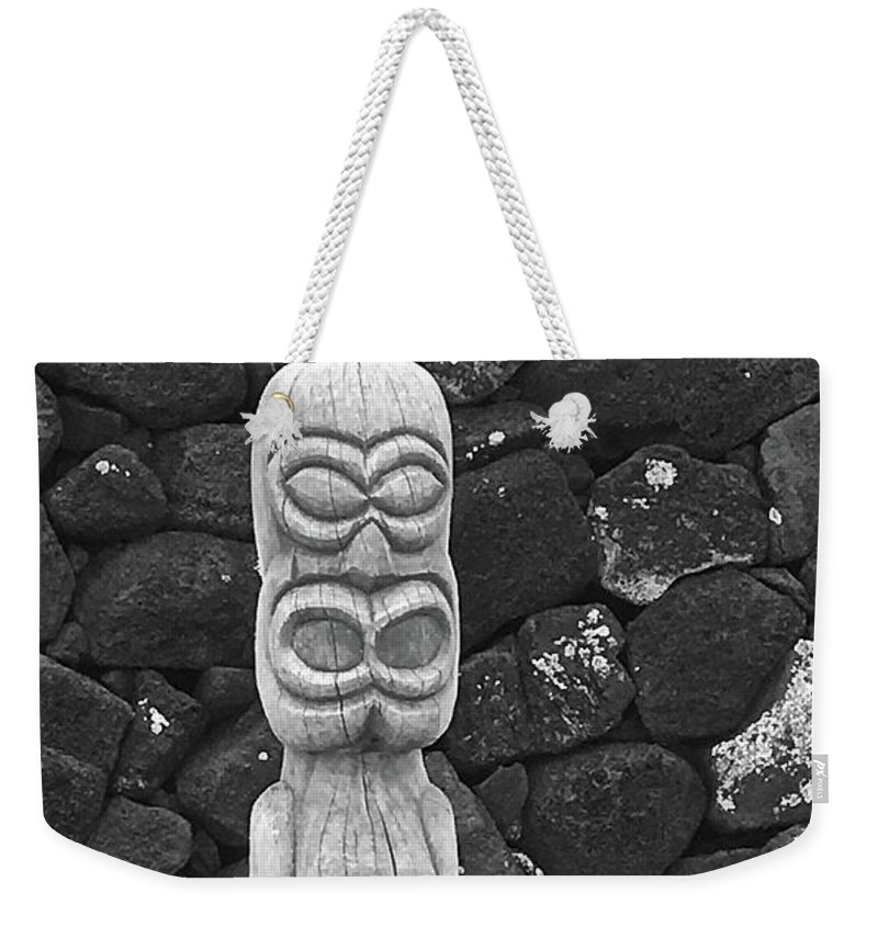 Tiki Weekender Tote Bag featuring the photograph Solitary God by Viki Velazquez