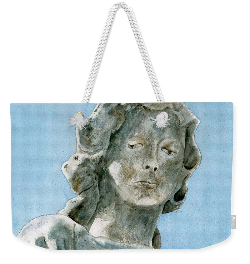 Portrait Watercolor Cemetery Statue Sky Woman Weekender Tote Bag featuring the painting Solitude. A Cemetery Statue by Brenda Owen
