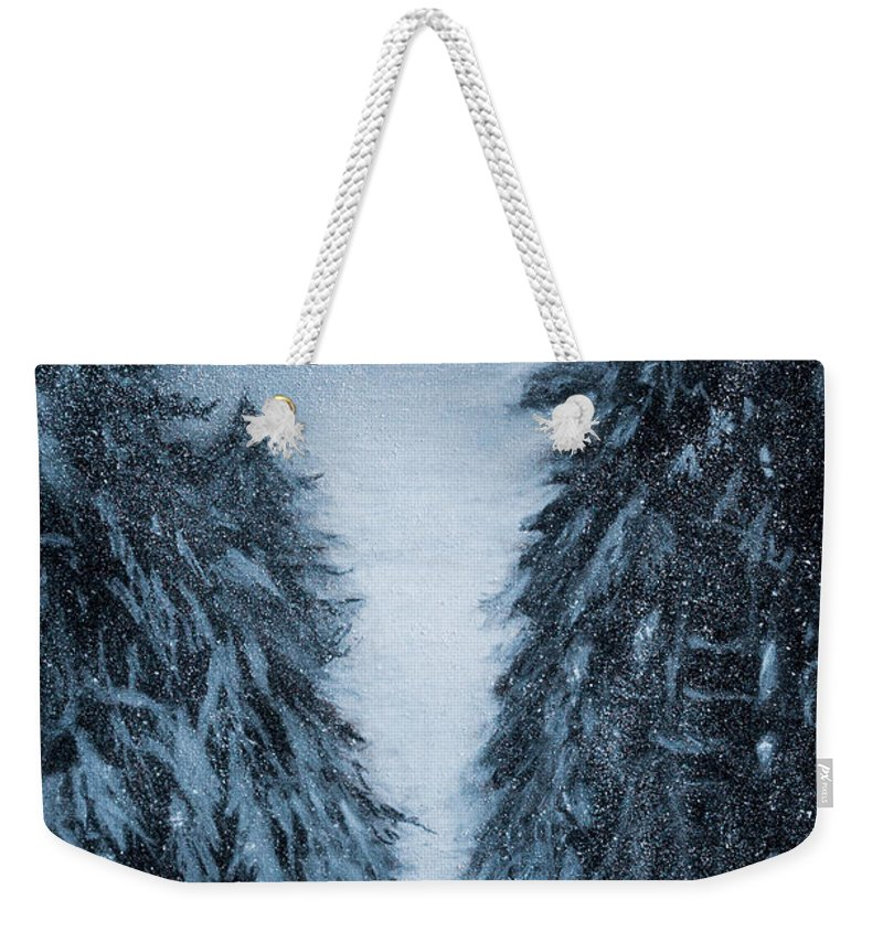 Charcoal Weekender Tote Bag featuring the drawing Solitude by Brian Owens