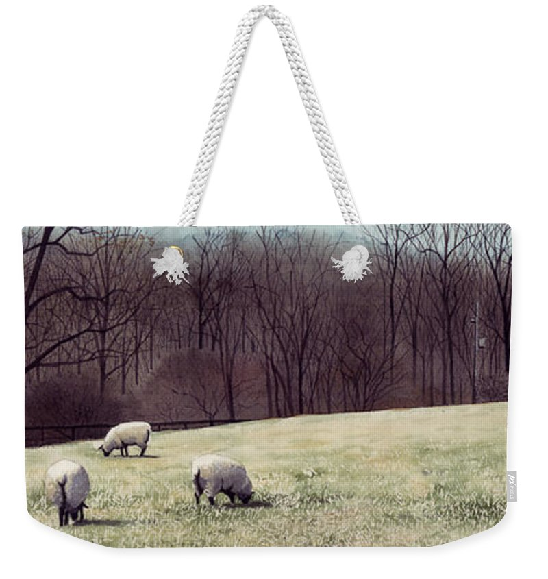 Sheep Weekender Tote Bag featuring the painting Solitude by Denny Bond
